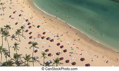Waikiki Beach, time lapse - High angle view of tourists on...