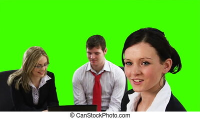 Chroma Key Footage of a business meeting - Green Screen...