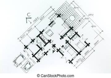 Graphic sketch of new house