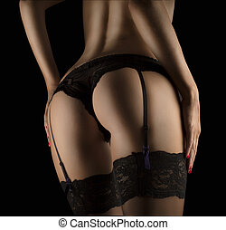 SEXY BUTTOCKS IN BLACK LINGERIE - PERFECT female SEXY...