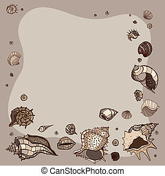 Summer Frame of seashells. - Frame of seashells. Summer...