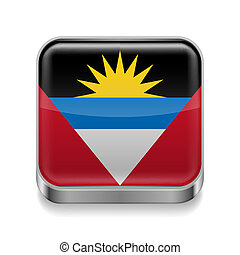 Metal icon of Antigua and Barbuda - Metal square icon with...