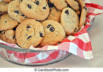 chocolate chip cookies in bowl - Fresh baked chocolate chip...