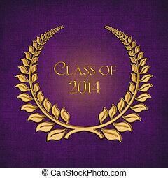 gold laurel on purple for 2014 grad - Fancy gold laurel on...