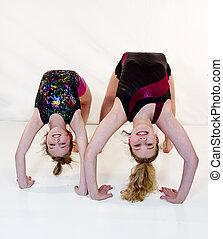 filles, Up-side, Bas, gymnastique