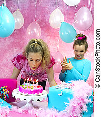Girl Blowing out Candles - Girl blowing out birthday Candles