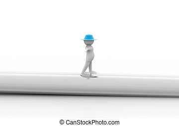 3d man walking on a pipe