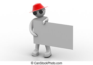3d man with white card