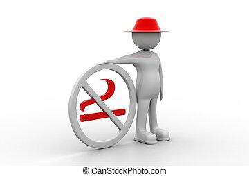 3d man with no smoking symbol
