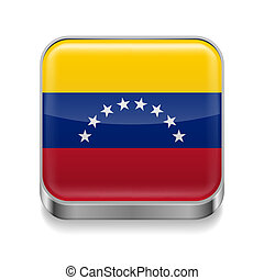 Metal icon of Venezuela - Metal square icon with flag colors...