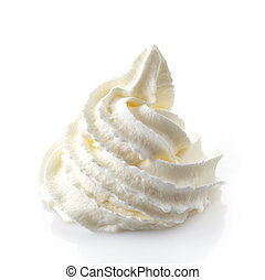 whipped cream on a white background