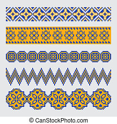 Set of pixel ethnic seamless border ornament - Set of pixel...