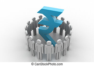 circle of abstract people around Rupee