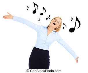 Dancing businesswoman - A picture of a young happy...