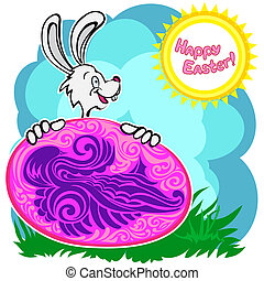 Bunny with patterned easter egg