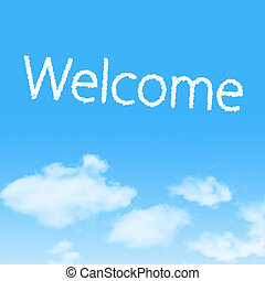 Welcome cloud icon with design on blue sky background