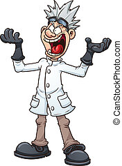 Mad scientist - Mad cartoon scientist Vector clip art...