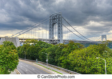 George Washington Bridge as seen from New York at a cloudy...
