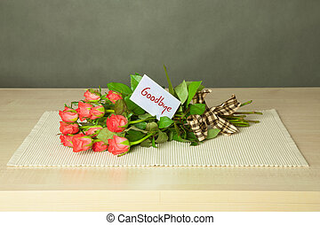 bouquet with goodbye card - bouguet of roses with card with...