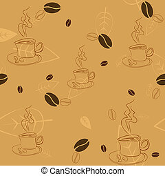 Seamless pattern with coffee beans, cups and leaves on light...