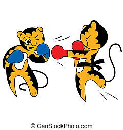 Vector cartoon two tiger cub cute young martial arts, the...