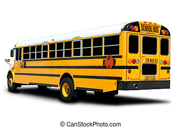 School Bus - Yellow School Bus Isolated on White with Shadow