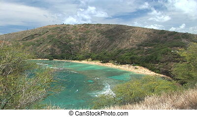 Hanauma Bay - High angle view of Hanauma Bay, marine life...