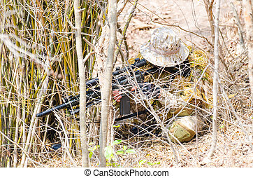 Airsoft Gun - Soldiers snipers attack the enemy from bush
