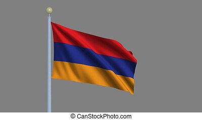 Flag of Armenia waving in the wind with flagpole -with alpha...