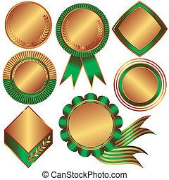 cobrança, bronze, medalhas, contadores, (vector)