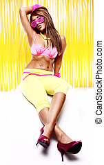 disco girl - sexy disco glamour brunette with pink bra and...