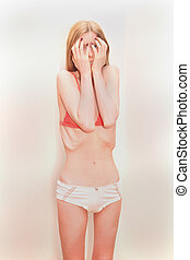 Anorexic body - Young skinny girl with anorexic body showing...