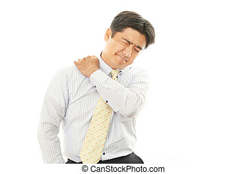 Businessman with shoulder pain - Man sore shoulder isolated...