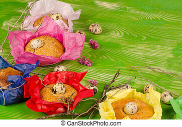 Easter kid food - Traditional Spanish monas in a small...