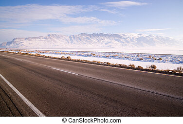 Lonesome Road Winter Freeze Utah Mountain Highway Salt Flats...