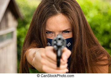 Female Bandit Points Snub Nose Revolver Handgun Weapon -...
