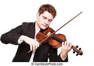 Man violinist playing violin Classical music art - Art and...