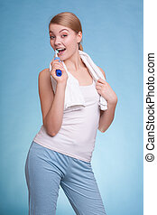 Girl brushing teeth. Dental care healthy teeth.