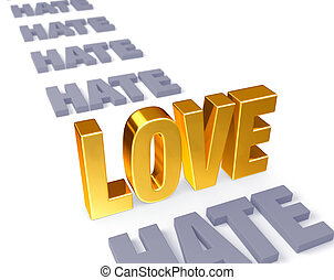 Love Stands Up to Hate - In a long row of plain gray...