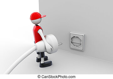 3d man carrying in his hand an electric plug