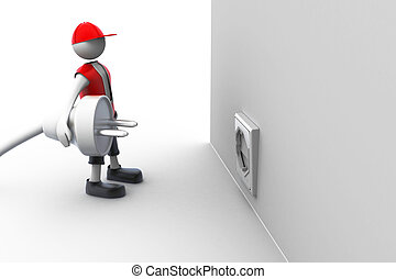 3d man carrying in his hand an electric plug.