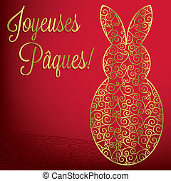 Filigree bunny Happy Easter card in vector format