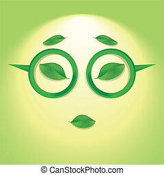 Sun face with glasses.