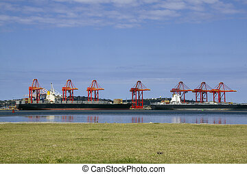 Ships Loading at Wharf in Durban Harbor - ships loading at...