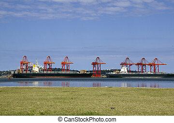 Ships Loading at Wharf in Durban Harbor - ships loading at...