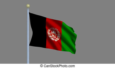 Flag of Afghanistan waving in the wind with flagpole -with...