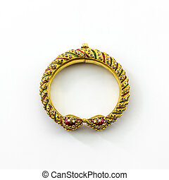 Gold jewelry thai ancient style. - Thai ancient style golden...