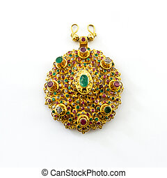Gold jewelry thai ancient style - Luxury gold pendant in...