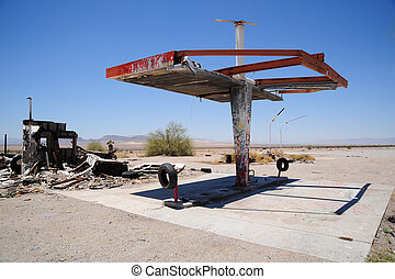 Ruin of a gasstation - Old ruin of a former gas station