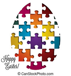 Paper cut out Easter egg card in vector format.